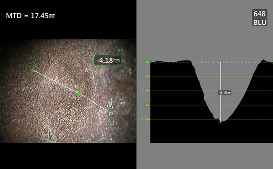 工业内窥镜检测并测量凹坑缺陷