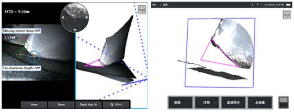 相位扫描三维立体测量技术的应用案例:叶片缺角测量
